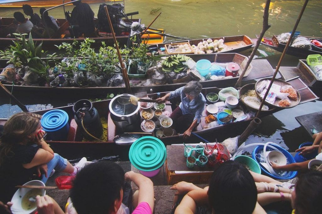 Thai street food isn't limited to just the streets - check out the Bangkok floating market too!