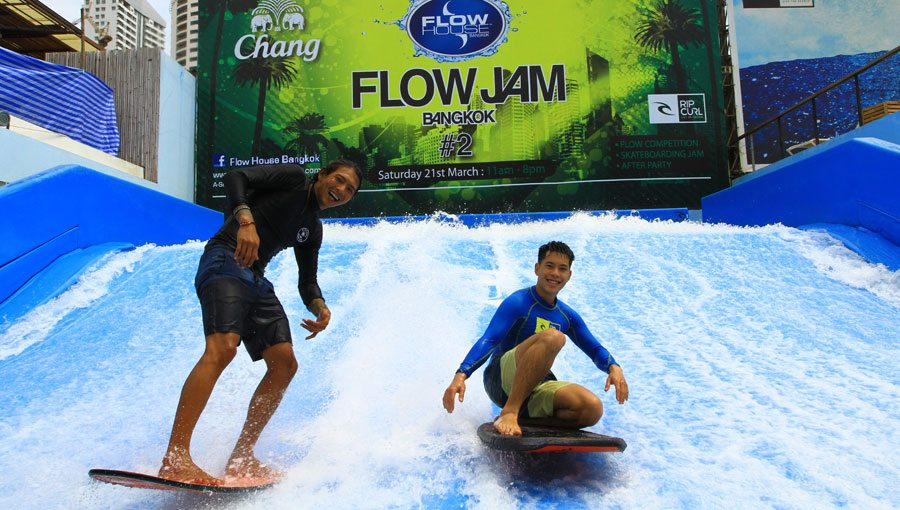 Flow House is Bangkok's artificial wave pool for simulated surfing.