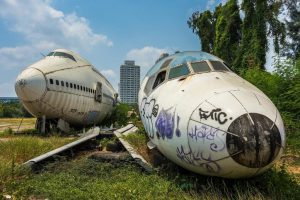 The Bangkok airplane graveyard is ominous but exciting.